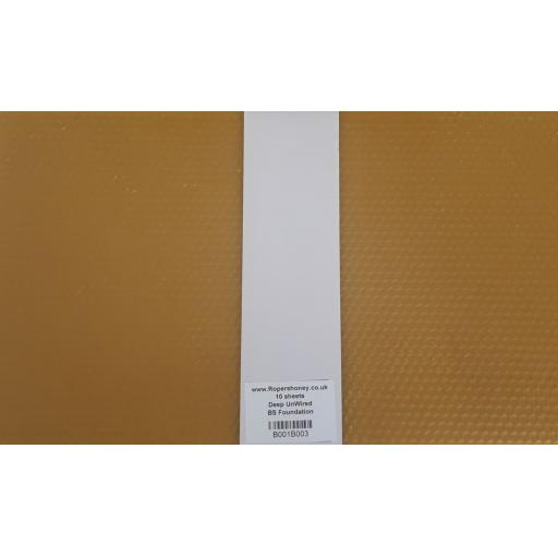 UNWIRED Beeswax Foundation BS National Deep / Brood Worker Base 10 sheets.
